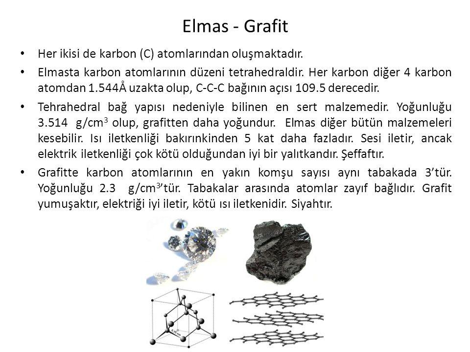 Elmas - Grafit Her ikisi de karbon (C) atomlarından oluşmaktadır.
