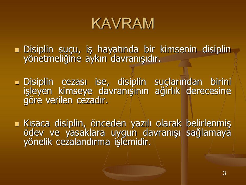KAVRAM Disiplin suçu, iş hayatında bir kimsenin disiplin yönetmeliğine aykırı davranışıdır.