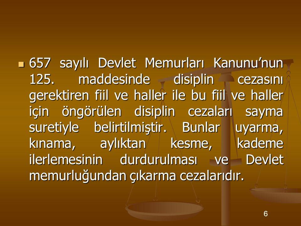657 sayılı Devlet Memurları Kanunu'nun 125