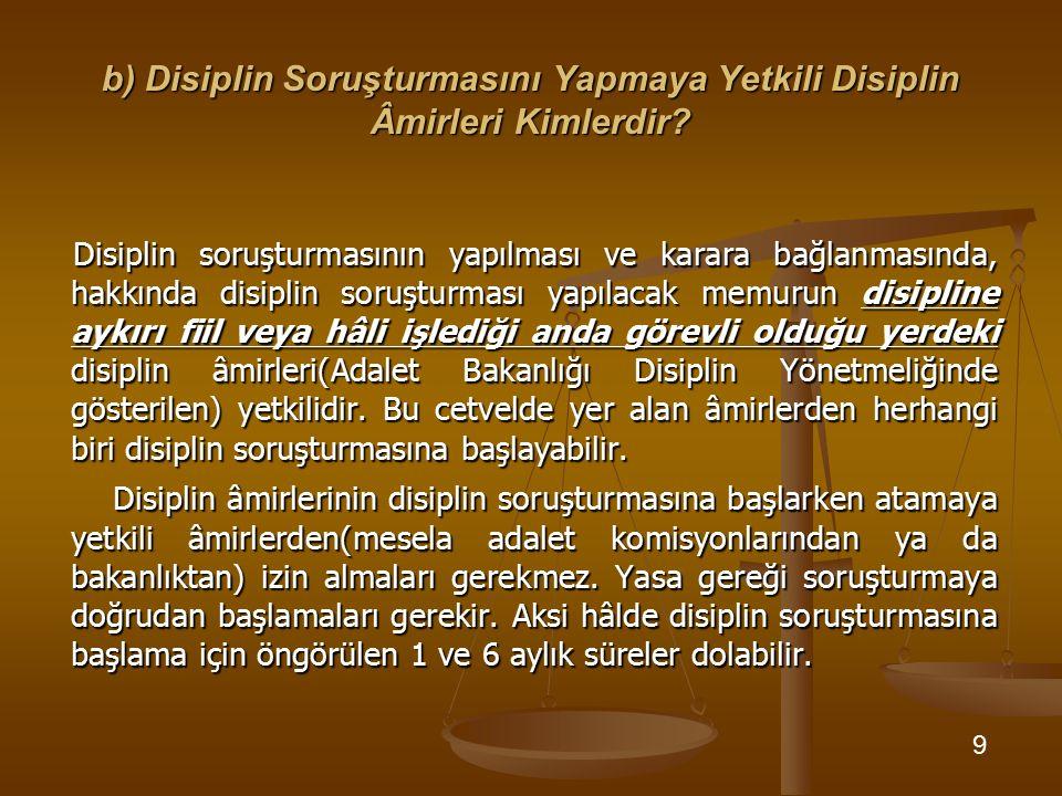 b) Disiplin Soruşturmasını Yapmaya Yetkili Disiplin Âmirleri Kimlerdir