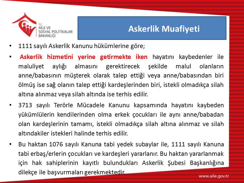 Askerlik Muafiyeti 1111 sayılı Askerlik Kanunu hükümlerine göre;