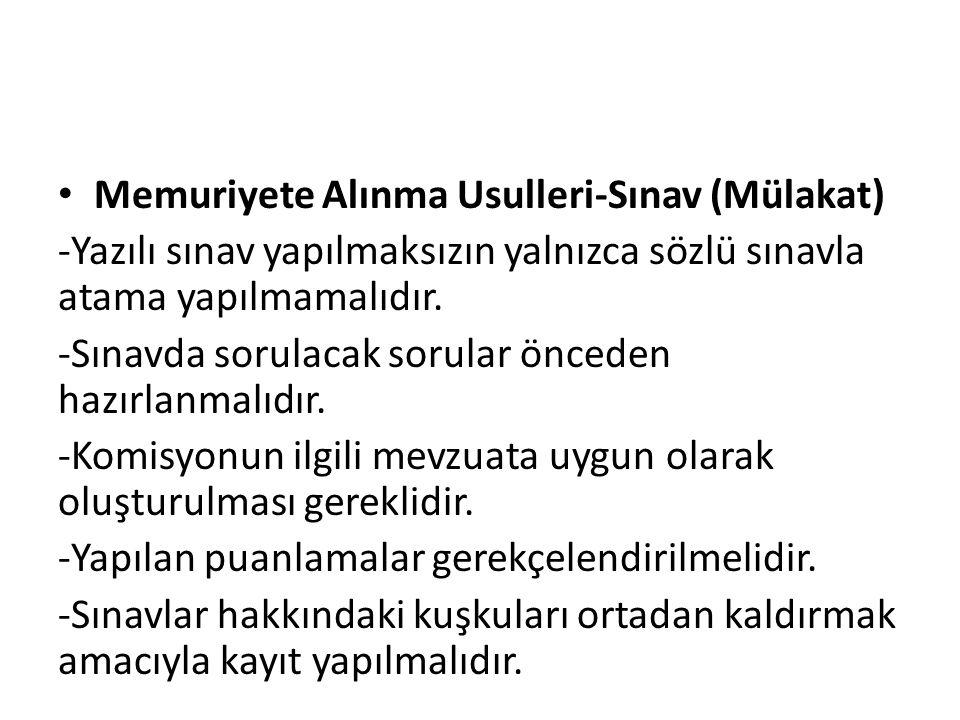 Memuriyete Alınma Usulleri-Sınav (Mülakat)