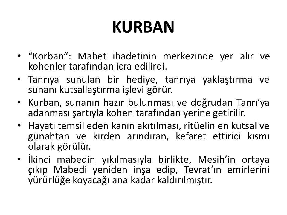 KURBAN Korban : Mabet ibadetinin merkezinde yer alır ve kohenler tarafından icra edilirdi.