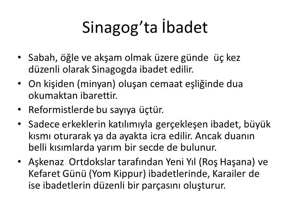 Sinagog'ta İbadet Sabah, öğle ve akşam olmak üzere günde üç kez düzenli olarak Sinagogda ibadet edilir.
