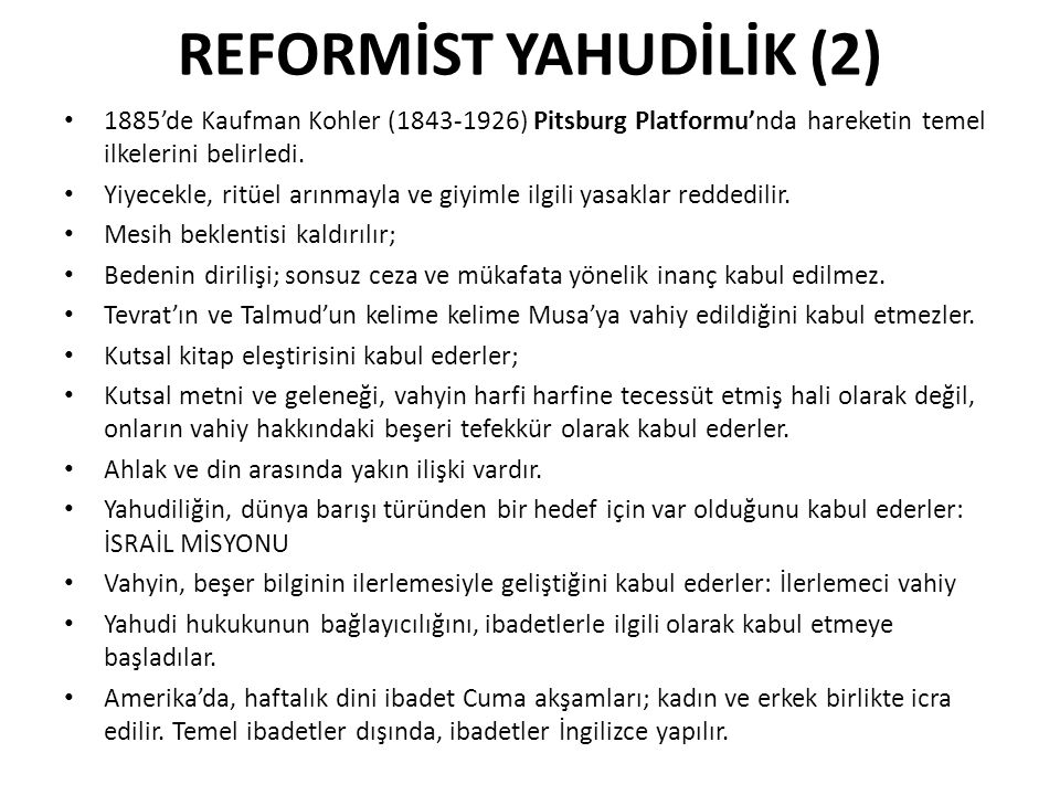 REFORMİST YAHUDİLİK (2)