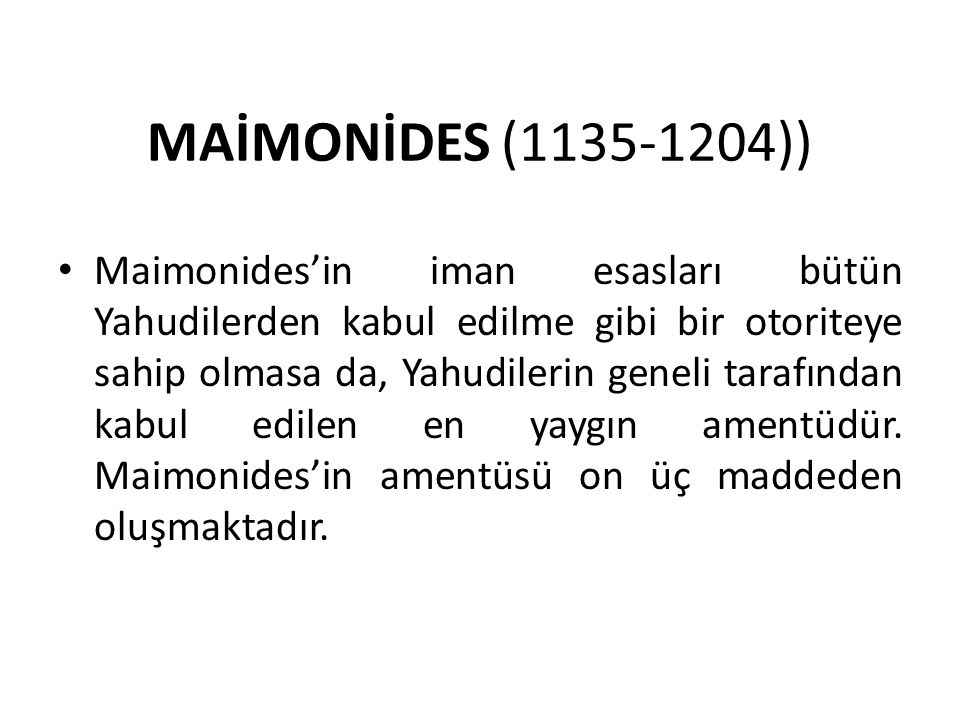 MAİMONİDES (1135-1204))