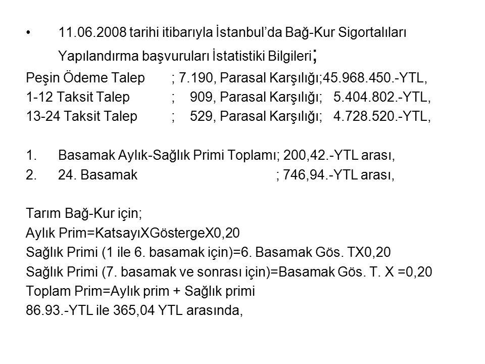 11.06.2008 tarihi itibarıyla İstanbul'da Bağ-Kur Sigortalıları Yapılandırma başvuruları İstatistiki Bilgileri;