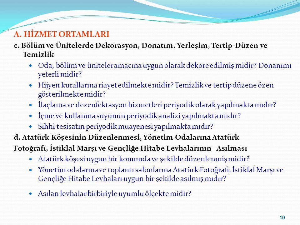 A. HİZMET ORTAMLARI c. Bölüm ve Ünitelerde Dekorasyon, Donatım, Yerleşim, Tertip-Düzen ve Temizlik.