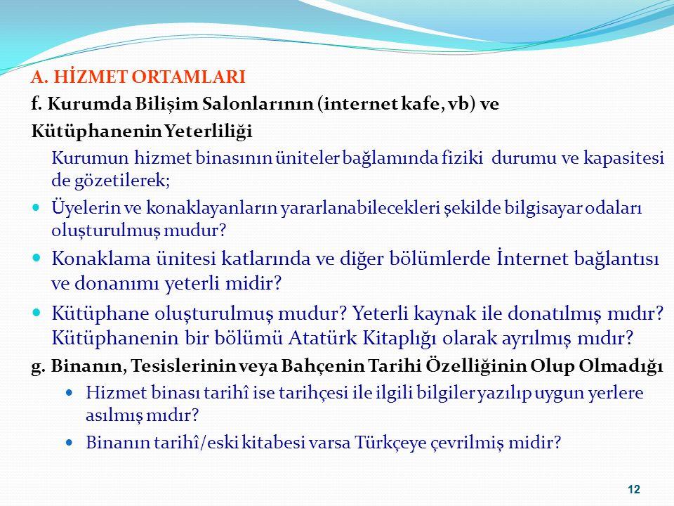 A. HİZMET ORTAMLARI f. Kurumda Bilişim Salonlarının (internet kafe, vb) ve. Kütüphanenin Yeterliliği.