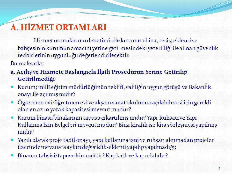A. HİZMET ORTAMLARI