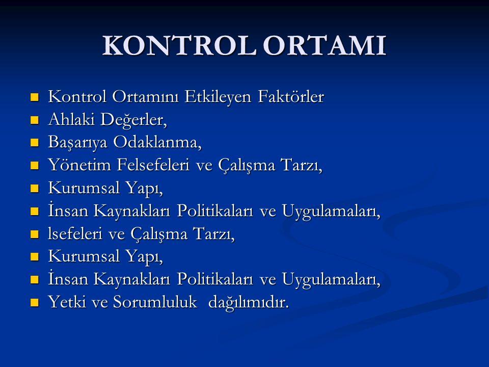 KONTROL ORTAMI Kontrol Ortamını Etkileyen Faktörler Ahlaki Değerler,