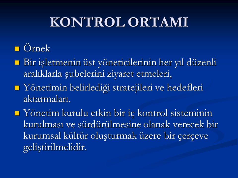 KONTROL ORTAMI Örnek. Bir işletmenin üst yöneticilerinin her yıl düzenli aralıklarla şubelerini ziyaret etmeleri,