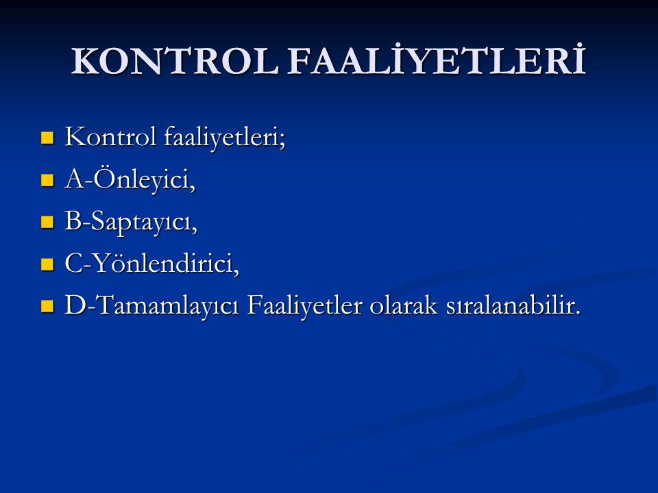 KONTROL FAALİYETLERİ Kontrol faaliyetleri; A-Önleyici, B-Saptayıcı,