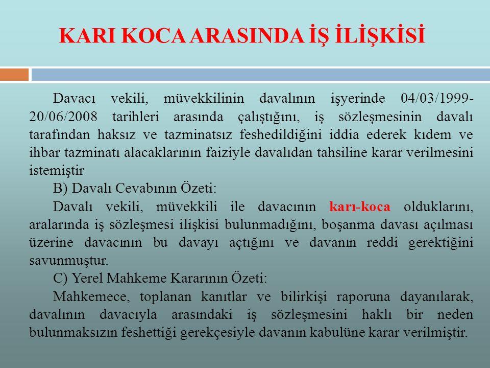 KARI KOCA ARASINDA İŞ İLİŞKİSİ