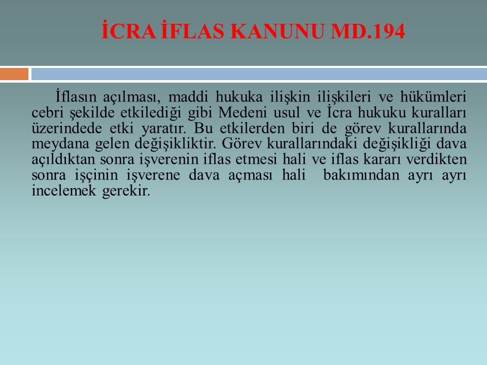 İCRA İFLAS KANUNU MD.194