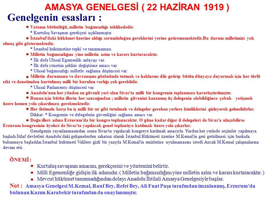 AMASYA GENELGESİ ( 22 HAZİRAN 1919 )