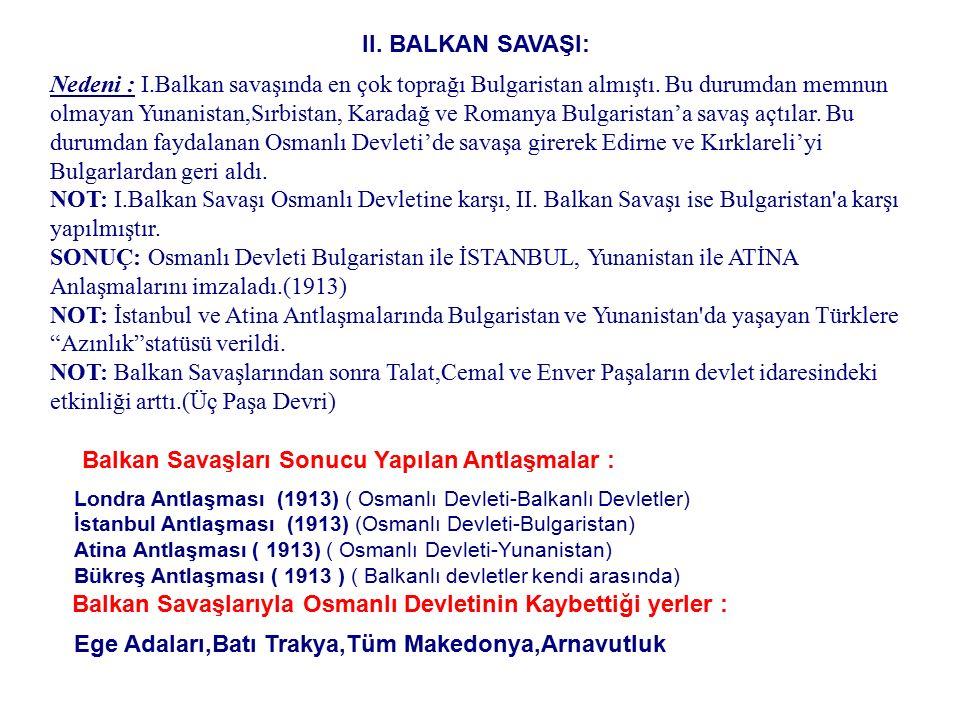 Balkan Savaşları Sonucu Yapılan Antlaşmalar :