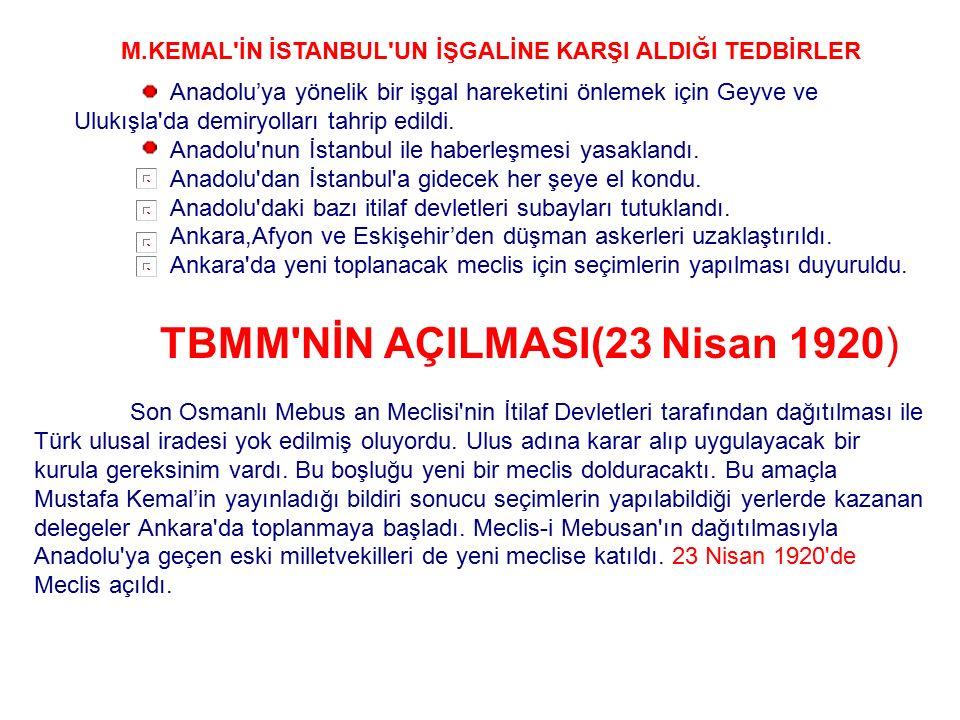 TBMM NİN AÇILMASI(23 Nisan 1920)
