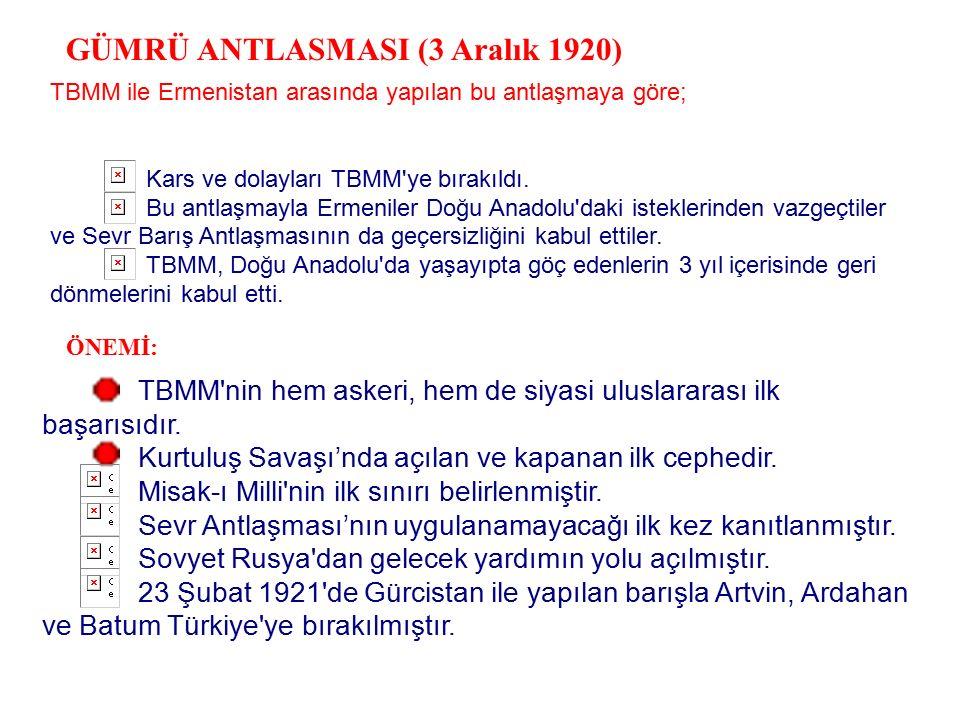 GÜMRÜ ANTLASMASI (3 Aralık 1920)