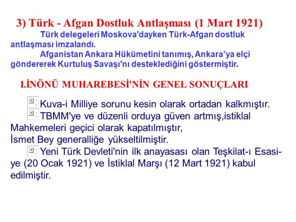 3) Türk - Afgan Dostluk Antlaşması (1 Mart 1921)