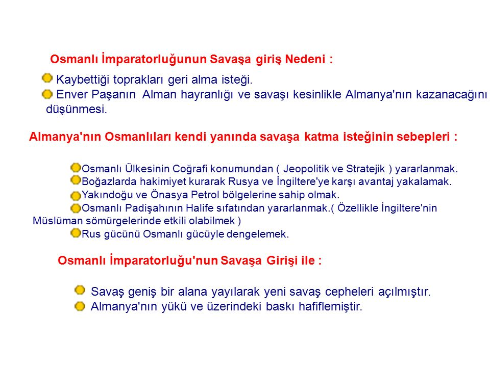 Osmanlı İmparatorluğu nun Savaşa Girişi ile :