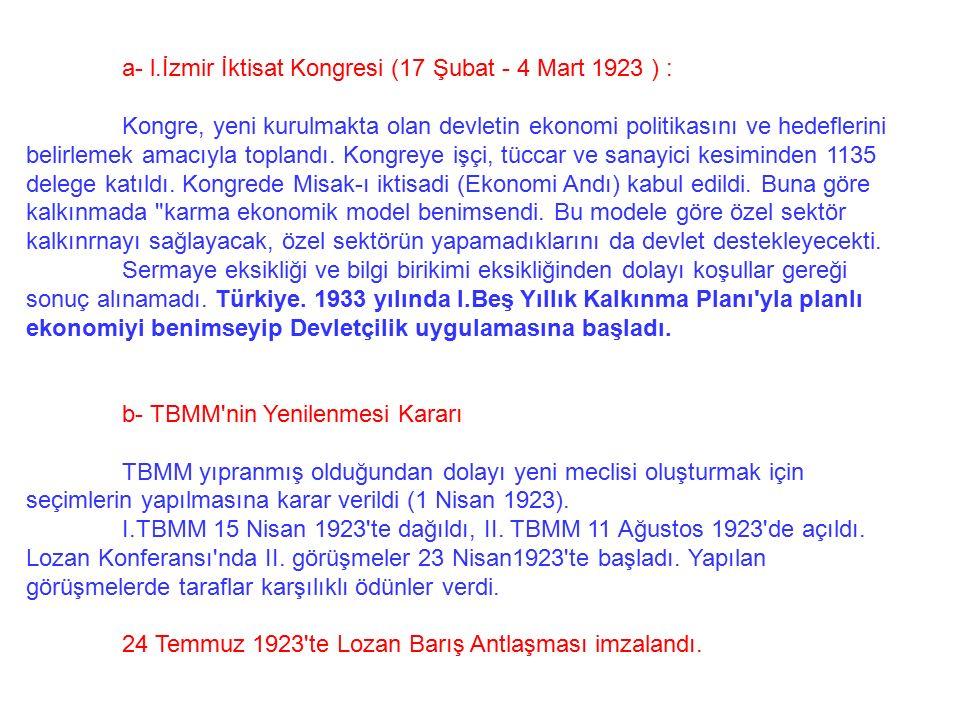a- l.İzmir İktisat Kongresi (17 Şubat - 4 Mart 1923 ) :