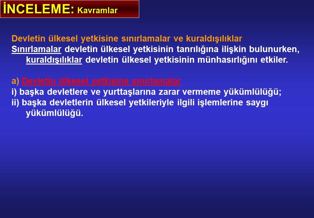 İNCELEME: Kavramlar Devletin ülkesel yetkisine sınırlamalar ve kuraldışılıklar.