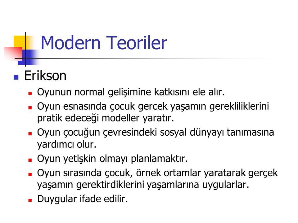 Modern Teoriler Erikson Oyunun normal gelişimine katkısını ele alır.