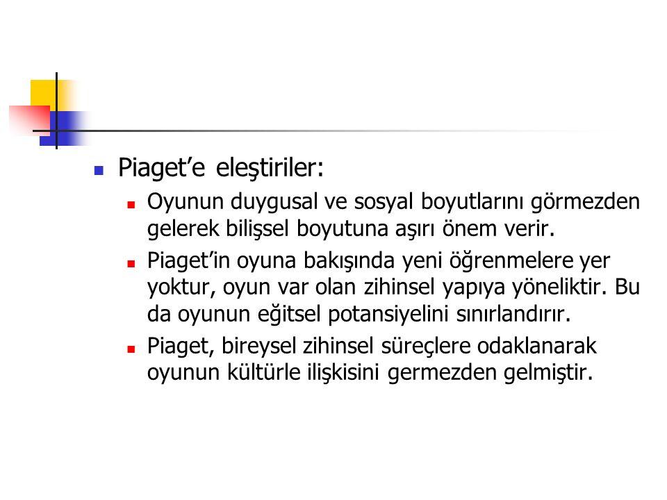 Piaget'e eleştiriler:
