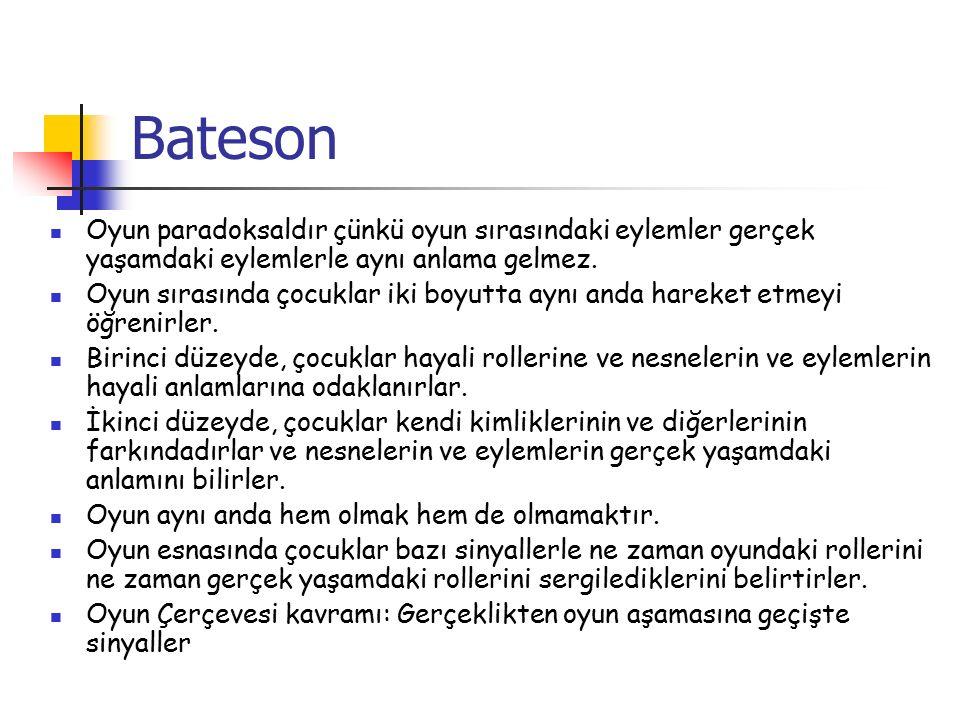 Bateson Oyun paradoksaldır çünkü oyun sırasındaki eylemler gerçek yaşamdaki eylemlerle aynı anlama gelmez.