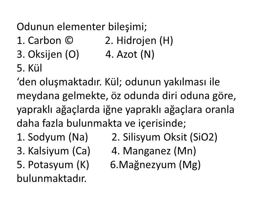 Odunun elementer bileşimi; 1. Carbon © 2.