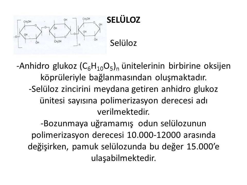 SELÜLOZ Selüloz -Anhidro glukoz (C6H10O5)n ünitelerinin birbirine oksijen köprüleriyle bağlanmasından oluşmaktadır.