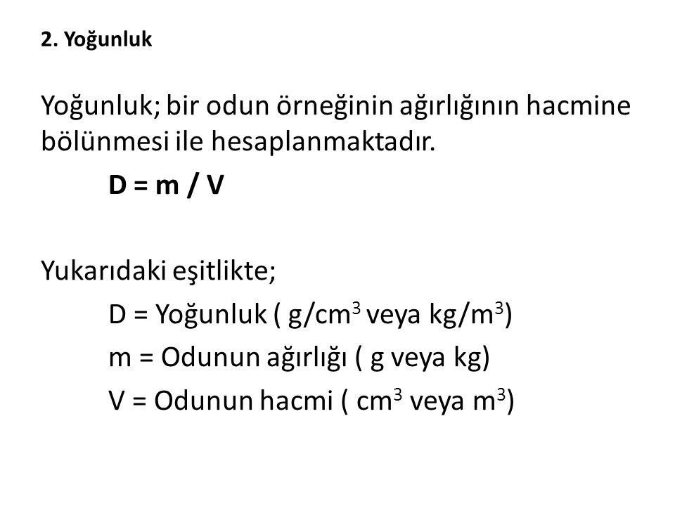 Yukarıdaki eşitlikte; D = Yoğunluk ( g/cm3 veya kg/m3)