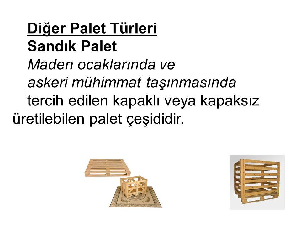 Diğer Palet Türleri Sandık Palet. Maden ocaklarında ve. askeri mühimmat taşınmasında.