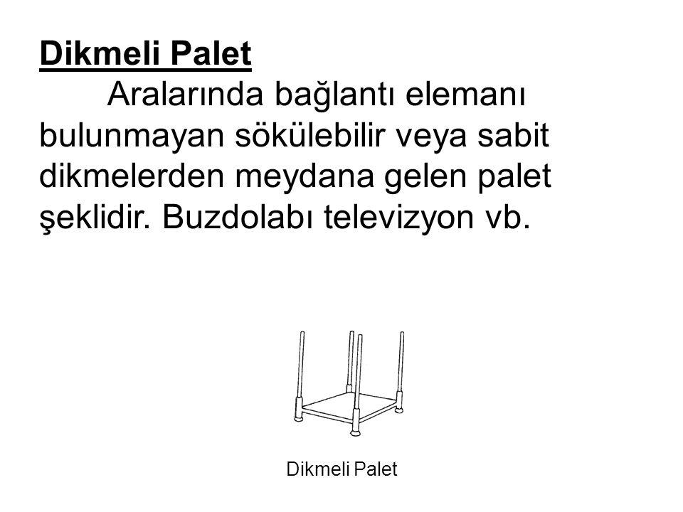Dikmeli Palet Aralarında bağlantı elemanı bulunmayan sökülebilir veya sabit dikmelerden meydana gelen palet şeklidir. Buzdolabı televizyon vb.