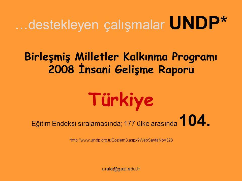 …destekleyen çalışmalar UNDP*