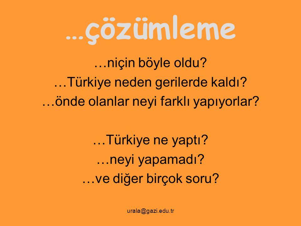 …çözümleme …niçin böyle oldu …Türkiye neden gerilerde kaldı