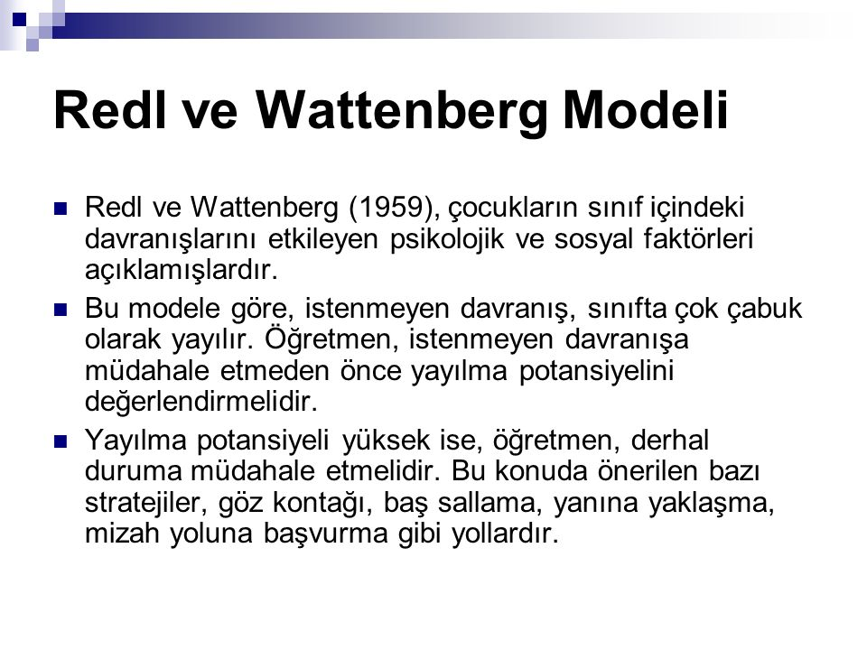 Redl ve Wattenberg Modeli