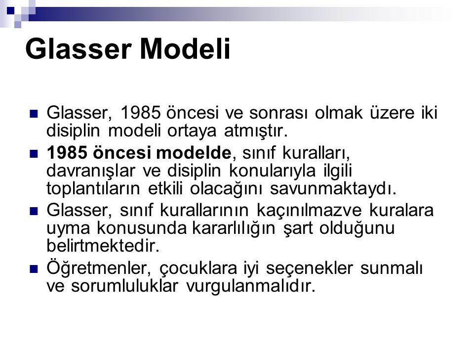 Glasser Modeli Glasser, 1985 öncesi ve sonrası olmak üzere iki disiplin modeli ortaya atmıştır.