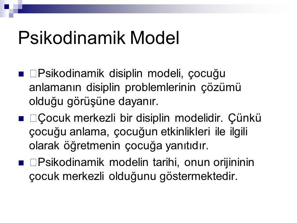 Psikodinamik Model Psikodinamik disiplin modeli, çocuğu anlamanın disiplin problemlerinin çözümü olduğu görüşüne dayanır.