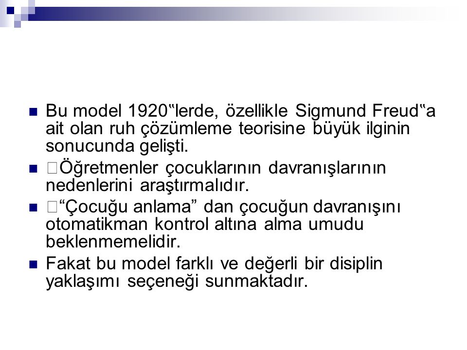 """Bu model 1920""""lerde, özellikle Sigmund Freud""""a ait olan ruh çözümleme teorisine büyük ilginin sonucunda gelişti."""