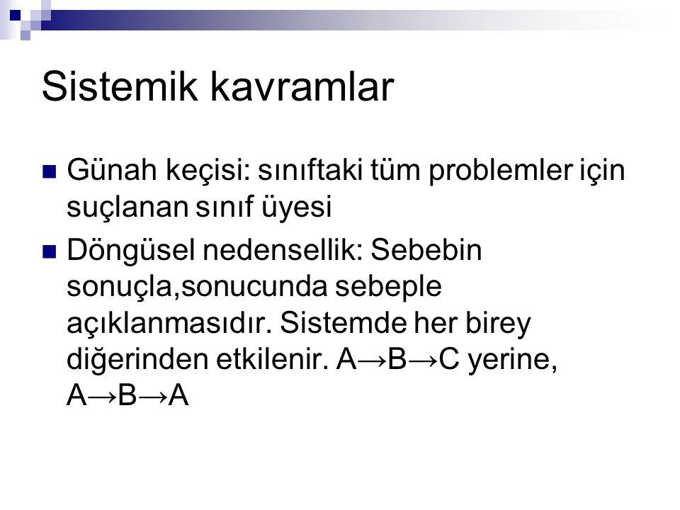 Sistemik kavramlar Günah keçisi: sınıftaki tüm problemler için suçlanan sınıf üyesi.