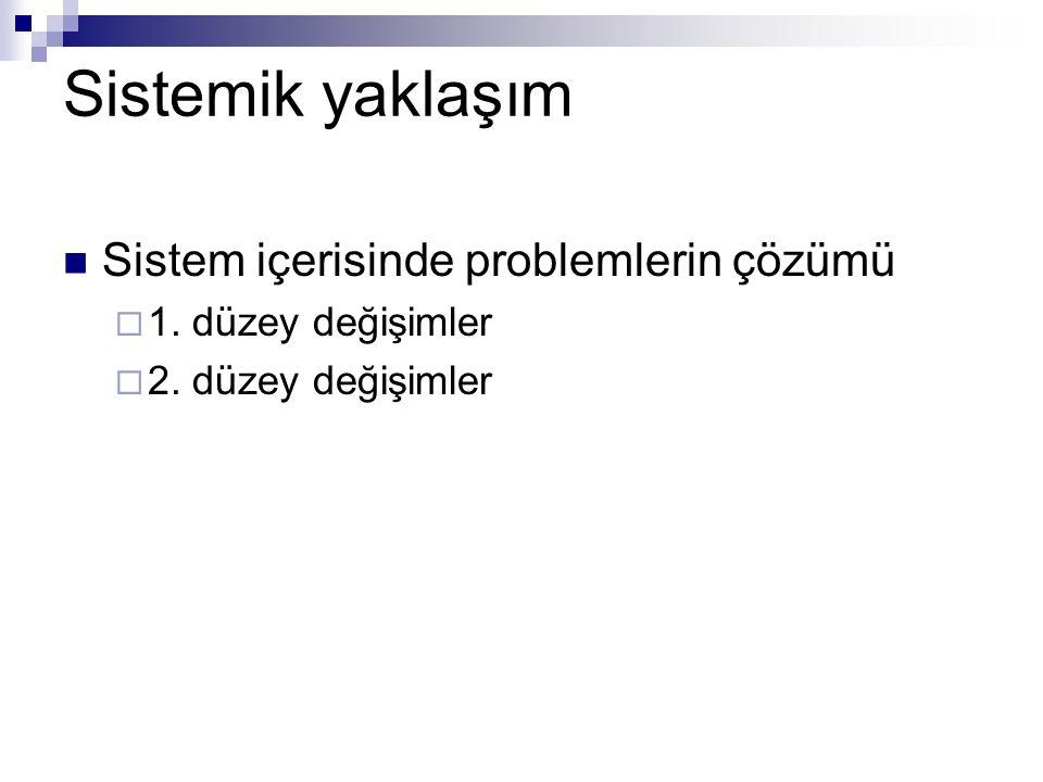 Sistemik yaklaşım Sistem içerisinde problemlerin çözümü