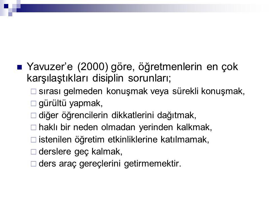 Yavuzer'e (2000) göre, öğretmenlerin en çok karşılaştıkları disiplin sorunları;