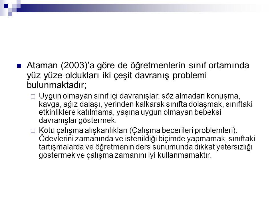 Ataman (2003)'a göre de öğretmenlerin sınıf ortamında yüz yüze oldukları iki çeşit davranış problemi bulunmaktadır;