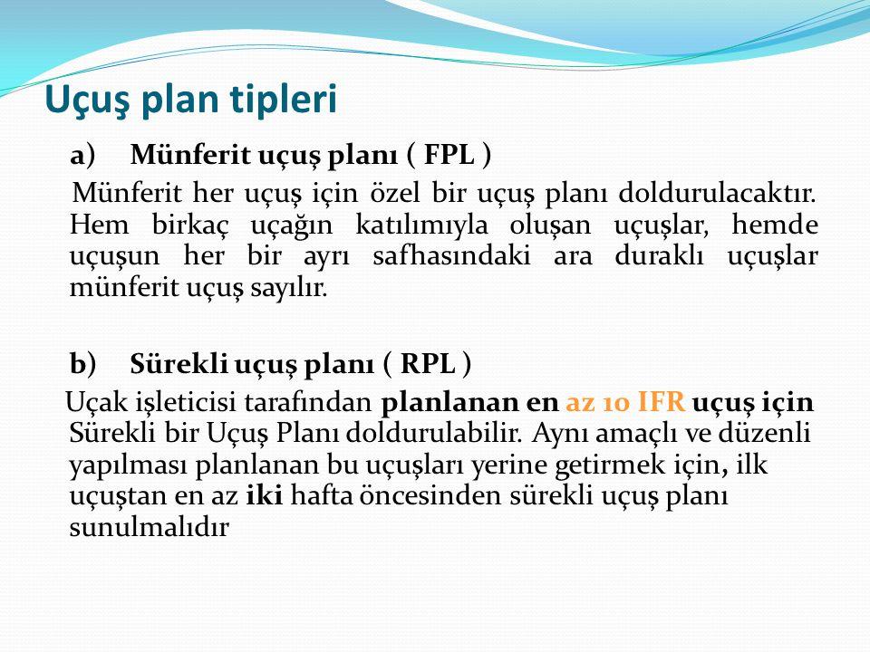 Uçuş plan tipleri