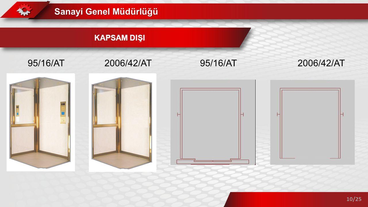 KAPSAM DIŞI 95/16/AT 2006/42/AT 95/16/AT 2006/42/AT