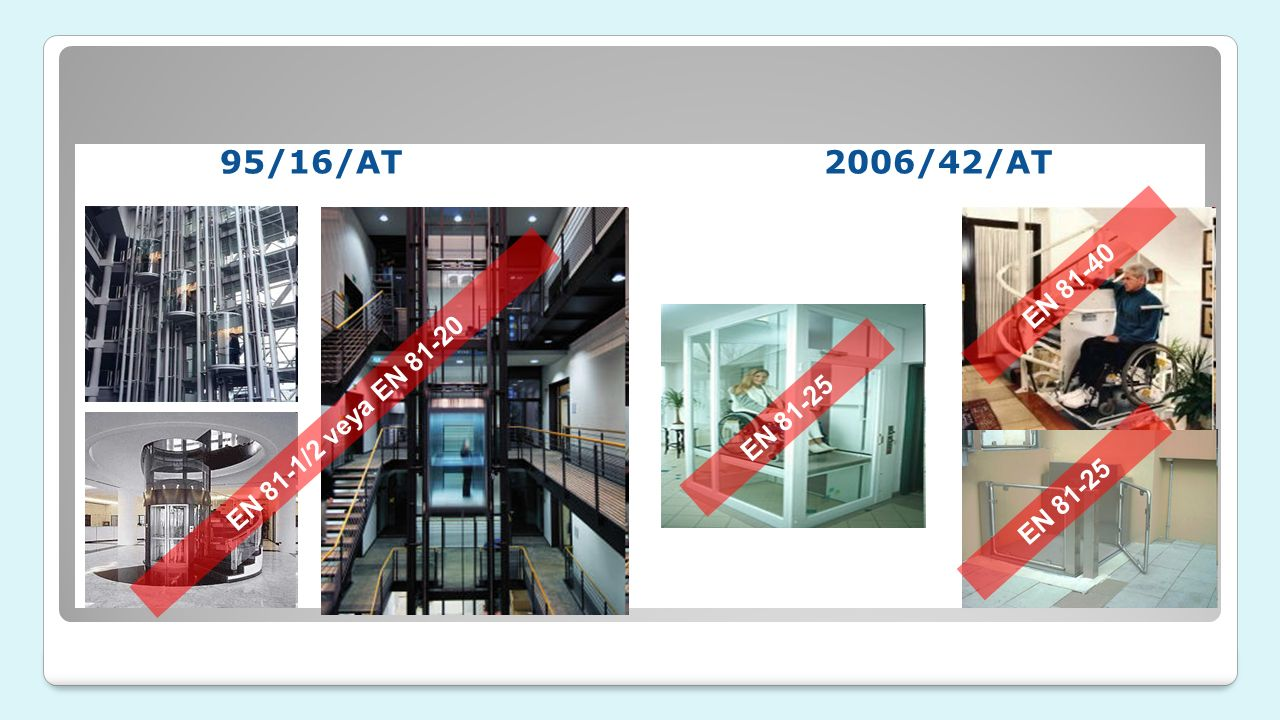 95/16/AT 2006/42/AT EN 81-40 EN 81-1/2 veya EN 81-20 EN 81-25 EN 81-25