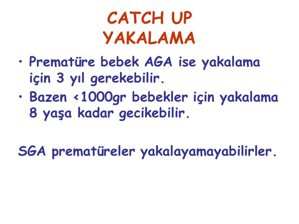 CATCH UP YAKALAMA Prematüre bebek AGA ise yakalama için 3 yıl gerekebilir. Bazen <1000gr bebekler için yakalama 8 yaşa kadar gecikebilir.