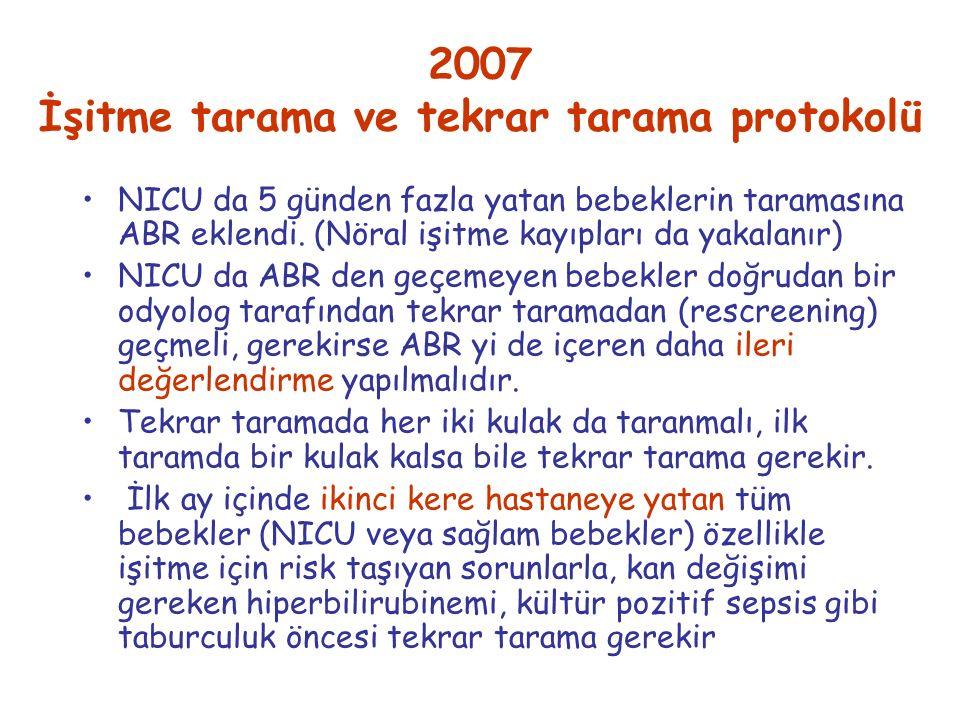 2007 İşitme tarama ve tekrar tarama protokolü